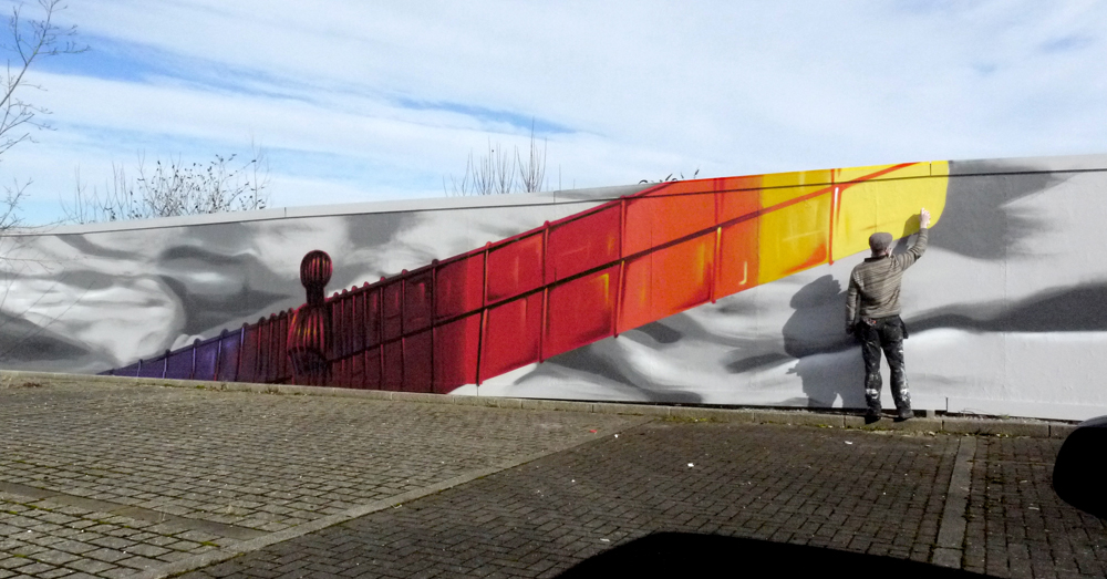 Frank Styles paints Angel of the North Great Exhibition Northern Design Centre