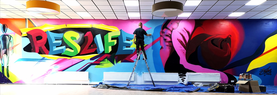 ResLife Newcastle University Castle Leazes. Graffiti Art spray paint featuring ResLife 3d lettering and street art styled Rose by Frank Styles
